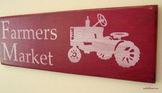 Farmers Market  Wood Sign In Barn Red by southofmain on Etsy, $25.00