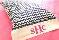 Monogrammed Chevron Pillowcase by ShineHandmadeGoods on Etsy, $19.00