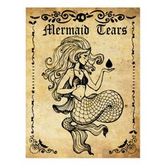 Old postcard mermaid tears vintage label postcard - holiday card diy personalize design template cyo cards idea Halloween Apothecary Labels, Halloween Potion Bottles, Halloween Labels, Vintage Halloween, Halloween Crafts, Vintage Witch, Apothecary Jars, Halloween Halloween, Halloween Pumpkins