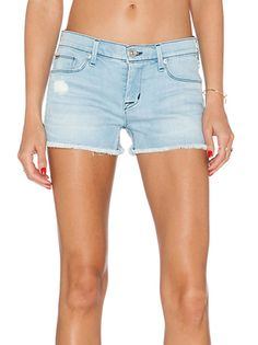 Light Blue Brief Style Ripped Denim Shorts Raw Edge Women's Bottoms For Sale on buytrends.com