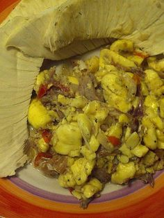 JAMAICA's national dish - ackee and saltfish with roasted breadfruit and Milo hot chocolate.