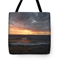 Tote Bags - Sunset and Waves Tote Bag by Pamela Walton
