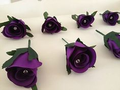 WEDDING ROSE BUTTON HOLES CADBURYS PURPLE