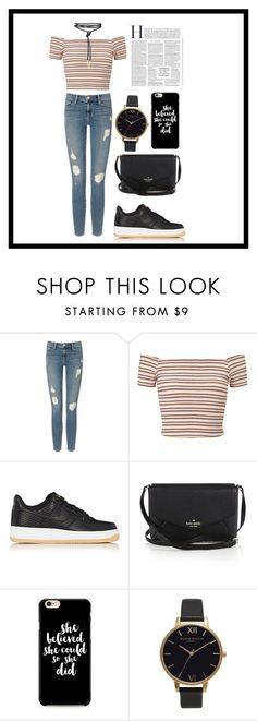 """no capt."" by therealexandra on Polyvore featuring Frame Denim, Miss Selfridge, NIKE, Kate Spade and Olivia Burton"