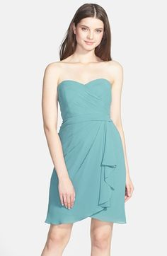 Jenny Yoo 'Brooklyn' Side Drape Strapless Chiffon Dress available at #Nordstrom