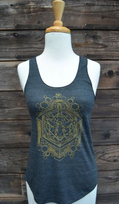 Tri-Black Racerback Tank - Golden Sacred Geometric Honey Bee Design - Sacred Geometry - Yoga Wear - Honeycomb