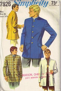 Vintage 1960s Mens Nehru Lined Jacket Simplicity 7926 Beatles Jacket Sewing Pattern by PeoplePackages