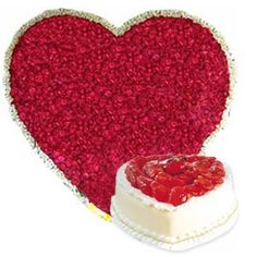 Around 200 rose arranged in Heart shape arrangement and 1kg heart shape Cake for your loved ones.