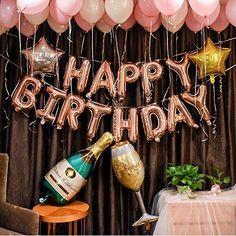 Champagner Cup Flasche Ballons Alles Gute zum Geburtstag Brief Ballon Hochzeit Rose Gold Liebe Party Dekorationen Ballon Weinflasche Ballons