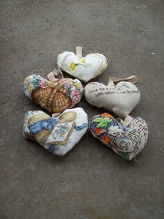 Handmade Heart Ornaments Christmas Decorations by misshettie, $18.00