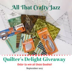Multiple ways to enter!  This giveaway includes scissors, rotary cutter and blades, multiple rulers, fat quarters and several yards of fabric in nice fall colors!  By All That Crafty Jazz