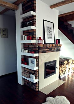 Living room fireplace brick