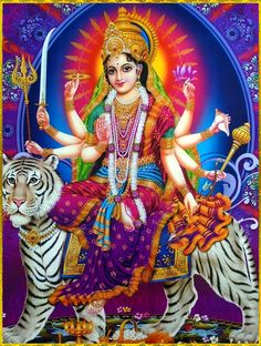 During Navratri people wake up and bathe early in the morning and pray to the goddess. The devotees perform special pujas and havans to welcome Goddess Durga and her nine avatars. Durga Picture, Maa Durga Photo, Maa Durga Image, Lord Durga, Durga Ji, Shri Hanuman, Lord Shiva, Navratri Puja, Durga Images