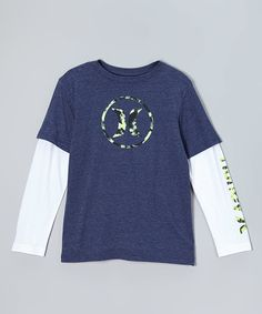 Look at this Hurley Midnight Navy Heat Air Slider Layered Tee - Boys on #zulily today!