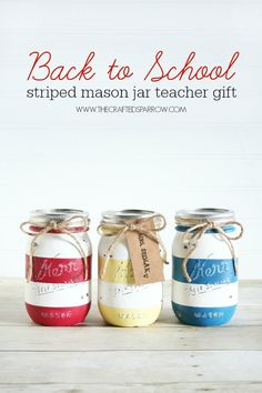 Back to School Striped Mason Jar Teacher Gift Back to School Striped Mason Jar Teacher Gift<br> Give any teacher this cute set of Back to School Striped Mason Jars full of cute classroom supplies and you will be a hit on the first day of school. School Supplies Tumblr, Diy Back To School Supplies, Classroom Supplies, Handmade Teacher Gifts, Teacher Christmas Gifts, Pot Mason Diy, Mason Jar Gifts, Mason Jar Projects, Diy Projects