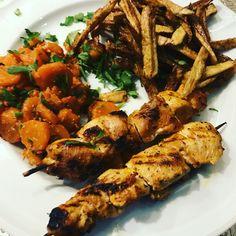 Grillade de poulet carotte et Frite