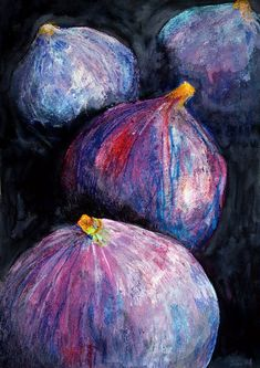 """Original Painting """"Four Figs"""" Still Life Original Artwork by Chelsea H-A Fruit Painting, Ceramic Painting, Pastel Drawing, Pastel Art, Original Paintings, Watercolor Paintings, Original Artwork, Oil Paintings, Fruit Photography"""