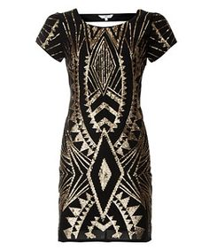 Black Pattern (Black) Black Sequin Tribal Aztec Shift Dress | 257755009 | New Look