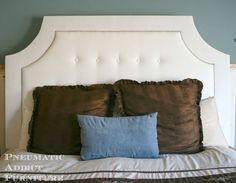 "Tufted headboards are super trendy right now, but getting perfect, even tufts can be difficult. I came up with a ""cheater"" way to get quick and easy tufts, with…"