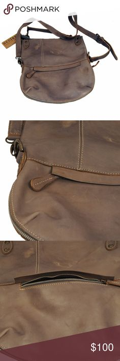 """Bed Stu Tahiti Purse Authentic full grain leather, fold over design with top zip closure. Lined interior with slip pockets. 8"""" H, 10.5"""" W, 1.5"""" D, 22"""" Drop. BRAND NEW!!!! Bed Stu Bags Crossbody Bags"""