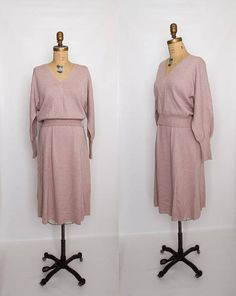 vintage 70s knit sweater skirt and blouse set dusty rose