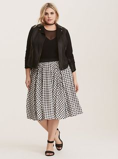 3524dda140 Black & White Gingham Full Skirt, GINGHAM PLAID Plus Size Tees, Plus Size  Skirts. Torrid