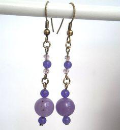 Boho romantic earrings light purple hand made by kalaniparis