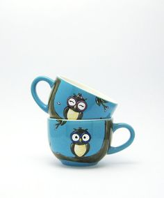 Owls  Spring  Espresso cups  His  hand painted by vitaminaeu, €17.50