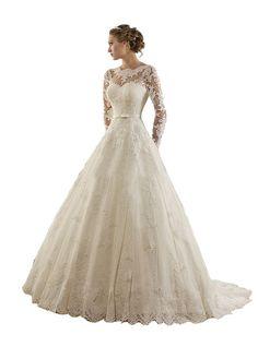TDHQ Women's Jewel Lace Applique Long Sleeves Sash Chapel Train A Line Wedding Dress White US20W