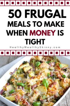 Looking for ways to feed your family for less? Try these 50 frugal meals that are super cheap but delicious. Cheap Easy Meals, Inexpensive Meals, Cheap Dinners, Frugal Meals, Freezer Meals, Cheap Food, Cheap Meals For Two, Cheap Healthy Dinners, Cheap Meals On A Budget Families