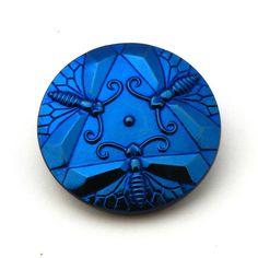 Czech Glass button  moths  cobalt royal navy blue by TheBeadedBead, $6.50