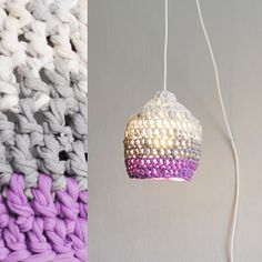 crochet lampshade made out of recycled t-shirts