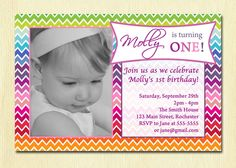 Rainbow Chevron Birthday Party Invite