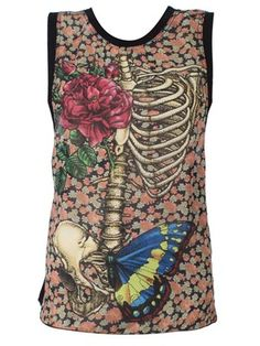 New Breed Girl Rose Cage Chiffon Top #Skeleton #Butterfly #Rose