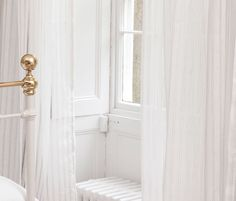 Translucent and floaty 100 linen sheers are a new addition to the collection The fabric is woven wide and is designed to be used railroaded Voile Curtains, Classic Furniture, Sheer Fabrics, Ibiza, Beautiful Homes, Reception, Design, Image, House Of Beauty