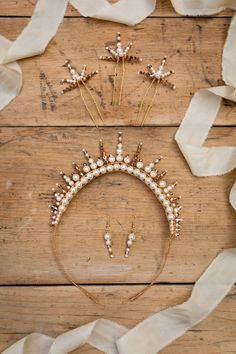 Dreaming Spires Traditional tiaras reimagined for modern brides. The new collection of luxury, handcrafted bridal accessories from Glorious by Heidi, Cheshire, UK. Pearl Set, Ivory Pearl, Bridal Crown, Bridal Tiara, Wedding Make Up Inspiration, Wedding Ideas, Cheshire England, Gold Tiara, Queen Mary