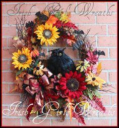 Black Owl Fall Wreath, Sunflower Wreath, Halloween Wreath, Large Wreath, Red Wreath, Spooky Woods, Owl Wreath, Autumn Wreath