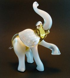 Blown Glass Elephant Miniature Sculpture Figurine by flameingo