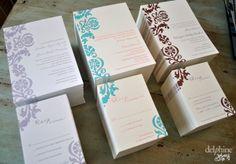 Delphine's signature design, Ava, letterpressed three ways