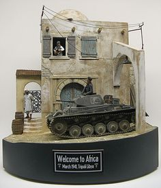 """""""Welcome to Africa - March 1941 Tripoli Libya"""" 1/35 scale. By Roy Schurgers. """"Interaction between all the elements is the key 2 a good diorama. """" German PzKpfw II tank. #diorama #WW2 Mais"""