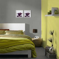 New-chambre-nature-2murs Furniture, Bedroom Wall Paint, House Design, Living Room Decor, Wall Colors, Home Decor, Room Decor, Bed, Bedroom