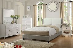 "5 pc Proctor collection white and grey faux leather upholstered queen bedroom set.  This set includes the bed with slat kit (mattress ready), nightstand, dresser, mirror and chest.  Bed measures 46"" H headboard and 13"" H footboard.  Nightstand measures 24"" x 16"" x 26"" H.  Dresser measures 58"" x 18"" x 34"" H.  Mirror measures 40"" x 40"" H.  Chest measures 35"" x 18"" x 50"" H.  Some assembly required."