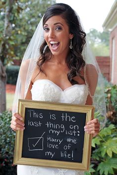 Use a chalkboard and snap a fun secret message for your groom right before you walk down the aisle.