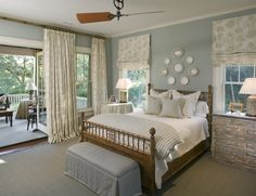 Guest Bedroom- Relaxing colour palette, rustic dresser, window coverings, sisal rug