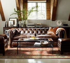 Living Room Decor with Leather sofa Interior Design Ideas with Chesterfield sofa Brown Leather Sofa, Living Room Sofa, Living Room Decor, Furniture, Chesterfield Sofa Living, Chesterfield Sofa Living Room, Home, Tufted Leather Sofa, Sofa Design
