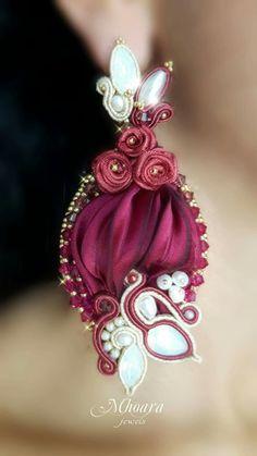 'Royal Burgundy' shibori silk earrings designed by Mhoara Jewels