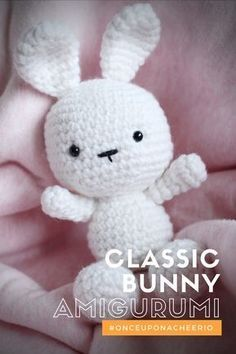 Classic Amigurumi Bunny, the head and body are crocheted together so there's one less sewing step to do. Free Crochet Pattern. #onceuponacheerio #freepattern #crochet