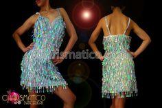 Charismatico Dancewear Store - CHARISMATICO Glittery Silver Latin Dance Dress with Iridescent teardrop sequin fringes , $150.00 (http://www.charismatico-dancewear.com/charismatico-glittery-silver-latin-dance-dress-with-iridescent-teardrop-sequin-fringes/)