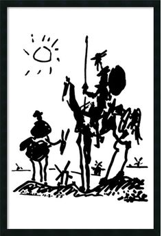 "0-006515>38x26"" Don Quixote Wall Art Satin Black"