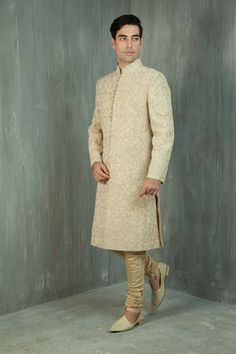 #Desi @benzerworld http://www.BenzerWorld.com/ Jute Silk #Sherwani embellished w/ heavy resham work.